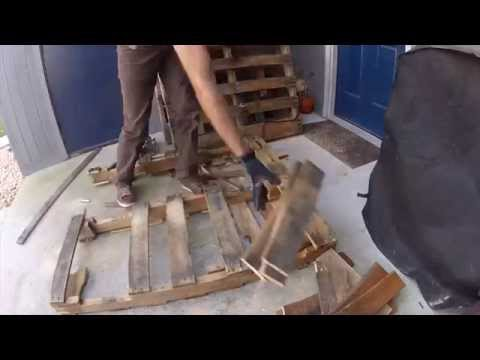 Tearing Down Pallets for Woodworking Projects