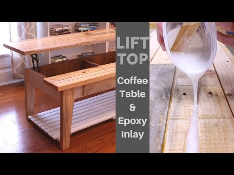 DIY Lift Top Coffee Table using reclaimed pallet wood with epoxy inlay – How to Make It