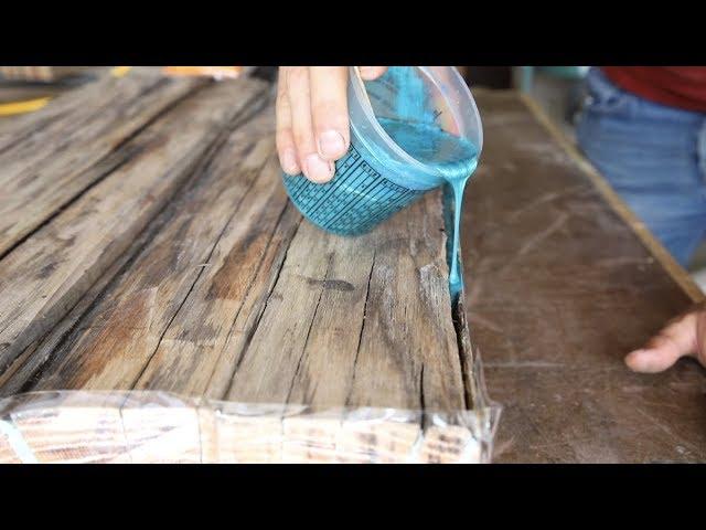 DIY Farmhouse Dining Table w/ Epoxy Inlays Using Reclaimed Barnwood