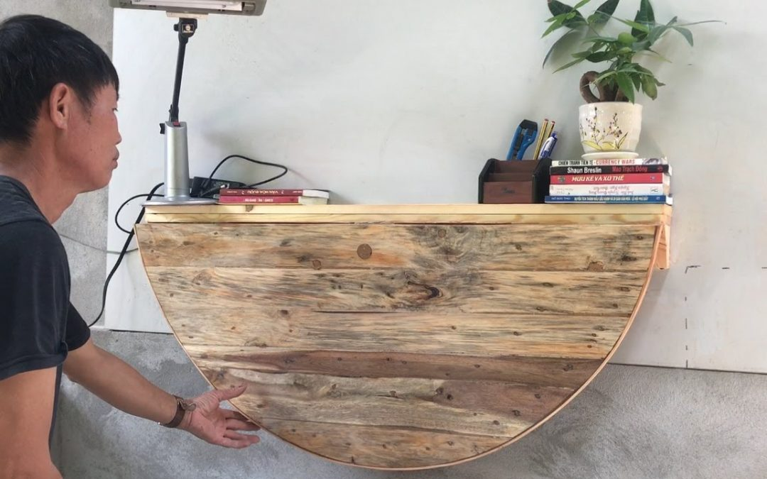 Build An Intelligent Computer Desk From Wooden Cable Coil // Amazing Ideas Woodworking Projec – DIY!